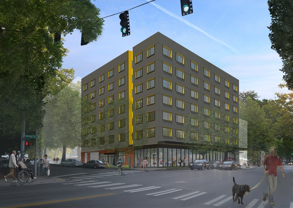 Plymouth Housing broke ground on the 2nd & Mercer project in downtown Seattle, to deliver 91 permanent housing apartments for those exiting chronic homelessness in 2021. Design by SMR Architects.
