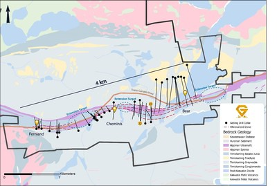 Figure 3. Gatling Exploration 2019 drill plan map showing extension drill target areas for 2020 drill campaign. (CNW Group/Gatling Exploration Inc.)