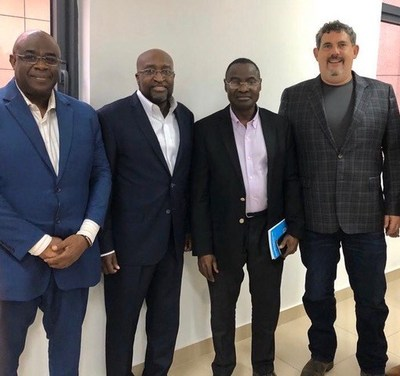 Pictured left to right --- Dr. Atcha-Oubou Tinah, MD-MPH (Coordinator of the National Malaria Control Program), Ambassador O. Arouna (President and CEO Innovative Mosquito Control Incorporated (InMoCo), Togolese Minister of Health and Public Hygiene Professor Moustafa Mijiyawa (Chair of the Africa CDC Governing Board), Jeremy Hirsch (Founder and Chairman of the Board, Spartan Mosquito)