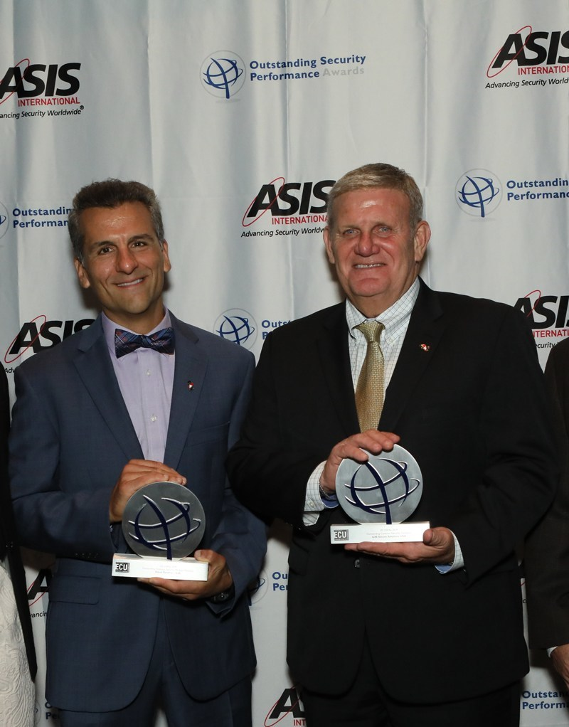 G4S' dedication to excellence was highlighted in 2019, being named Outstanding Contract Security Company by the Outstanding Security Performance Awards (OSPAs). G4S Secure Solutions (USA) President Drew Levine (on right) accepted the award.  In addition, G4S Director of Strategic Accounts David Serafine (on left), was recognized as Outstanding Contract Security Director.