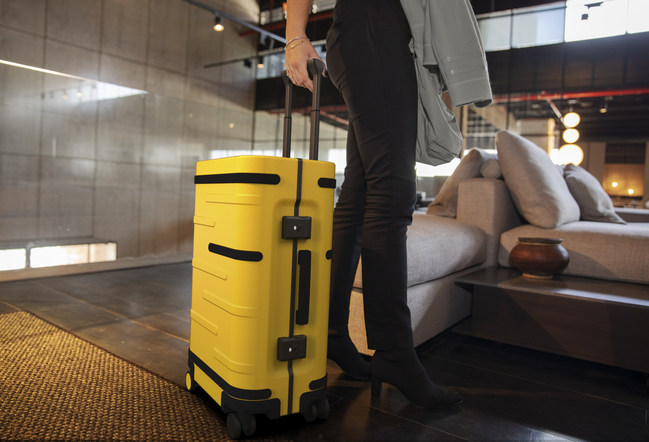 Samsara's next generation of smart luggage is ready for take off, shown here in polycarbonate yellow. New tech features includes GPS and Bluetooth 5.1 tracking and Wi-Fi Hotspot. Now available for pre-order.