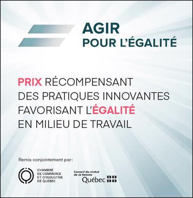 La période de mise en candidature pour la deuxième édition du Prix Agir pour l'égalité a été lancée le 20 janvier. (Groupe CNW/Conseil du statut de la femme)