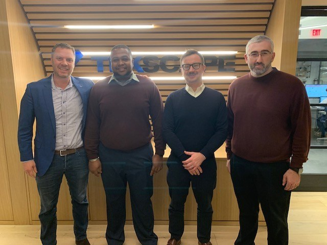 [From left] Dave Smith, CEO at Tekscape Inc; Kemuel Cabey, Senior System Engineer at Tekscape Inc; Damian Wieczorek, Sales Operations Manager at Tekscape Inc; Vitaly Burshteyn, Manager of Professional Services at Tekscape Inc.