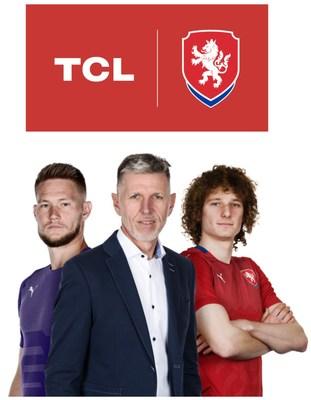 TCL torna-se Parceira Premium da seleção checa de futebol. O goleiro Tomáš Vaclík, o treinador principal, Jaroslav Šilhavý e o principal atacante - Alex Král (da esquerda para a direita) (PRNewsfoto/TCL)