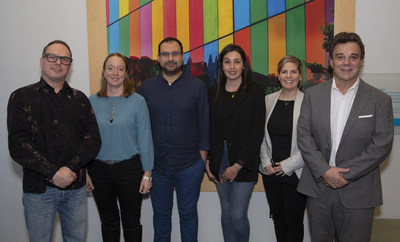 Left to right: #MEET4IMPACT officials Jacques Blanchet, VP and Associate, Research and Policy, and CEO Geneviève Leclerc, who will work closely on this study with Professor Mohamed Reda Khomsi of the ESG UQAM School of Management's faculty of urban and tourism studies, and his Research Assistant, Lyla Fernandez Aubin, in partnership with the Palais des congrès de Montréal, represented here by Sara Bergevin, Corporate Secretary and Manager of Legal Affairs, and Robert Mercure, CEO. (CNW Group/Palais des congrès de Montréal)