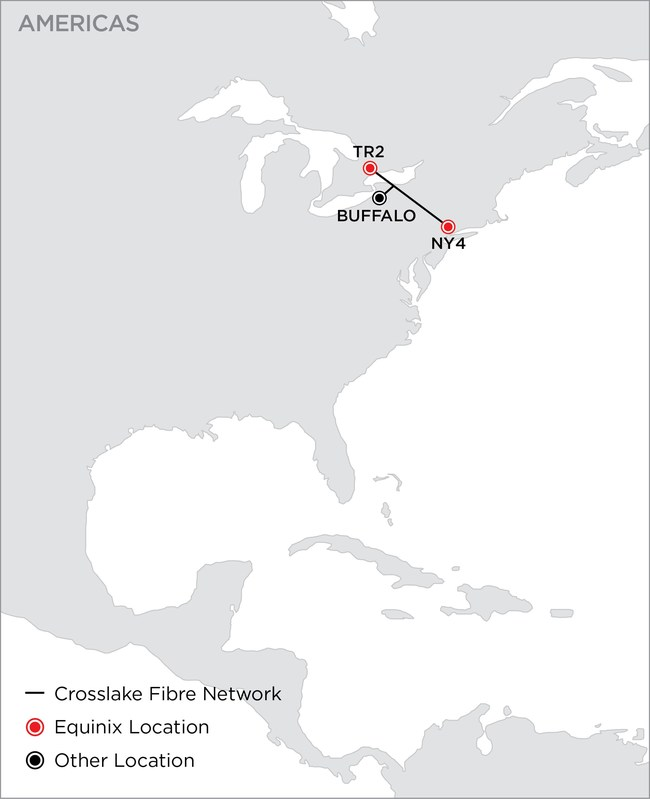 Crosslake Fibre selected Equinix to extend its backhaul capacity into Equinix TR2 IBX data center in Toronto and Equinix NY4 IBX in Secaucus, New Jersey
