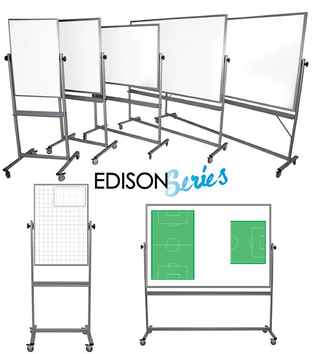 EVERWhite's new Edison Series of double-sided, mobile whiteboards. These flippable marker boards on wheels are available with plain dry erase surfaces, or with sports, education, collaborating and planning images.