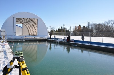 Open water just before freeze-up at the Sea-ice Environmental Facility (SERF) in Winnipeg, Canada. Photo credit: Sarah Wang