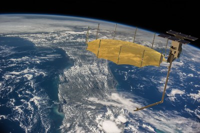 Artist impression of Capella SAR satellite. Background image courtesy NASA.