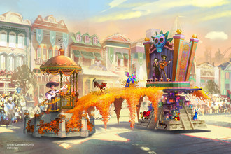 """Set to debut Feb. 28, 2020, at Disneyland Park in California, the new """"Magic Happens"""" parade will celebrate the awe-inspiring moments of magic that are at the heart of so many Disney stories. Depicted in this image, Miguel appears in person for the first time, celebrating the magic that happens when he strums the guitar of Ernesto de la Cruz in the Disney and Pixar film """"Coco."""" (Disney)"""