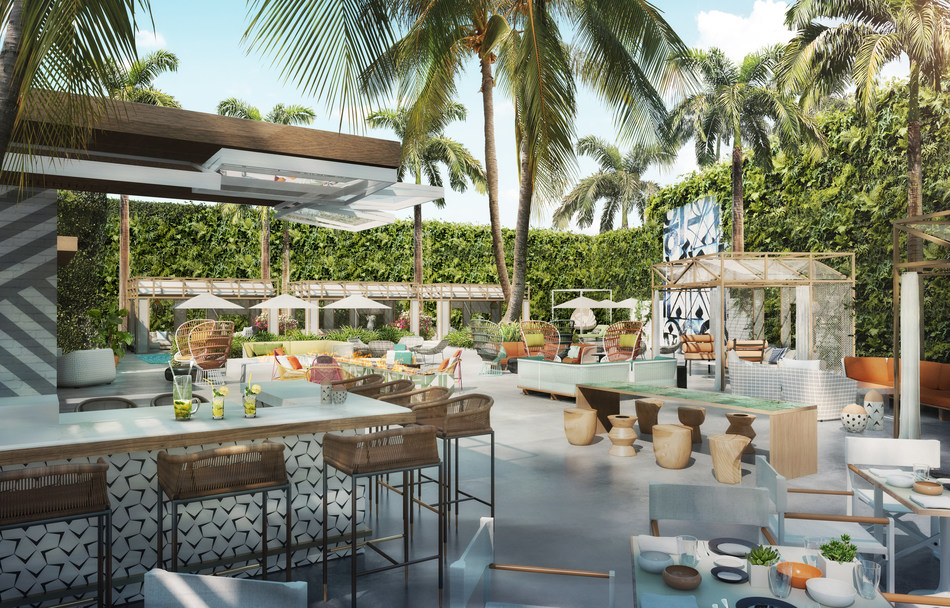 Rendering of outside patio at Viceroy Santa Monica