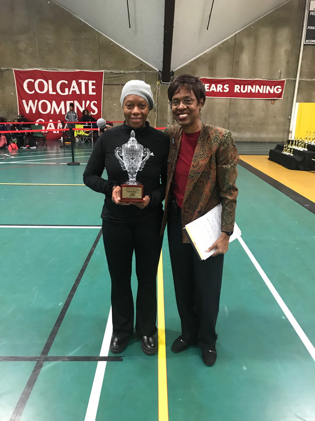 "Meet Director Cheryl Toussaint with Felicia Blake, one of two ""Coach of the Year"" award recipients. Blake was honored for her support of track and field and the Colgate Women's Games. Blake is a former Colgate Games' competitor and is the Head Coach of the West Orange High School Track and Field and Cross Country teams."
