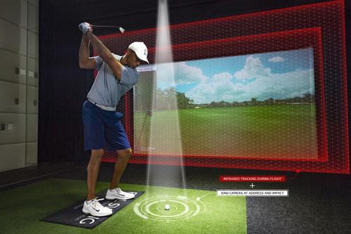 JUPITER, FL - NOVEMBER 20:  Tiger Woods hits balls in his Full Swing Simulator at home on November 20, 2019 in Jupiter, Florida. (Photo by Donald Miralle for Full Swing)