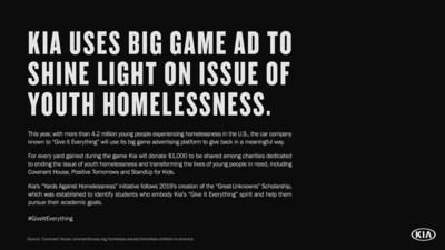 Kia utiliza anuncia del gran juego para echar luz sobre el problema de la falta de vivienda entre los jóvenes (PRNewsfoto/Kia Motors America)