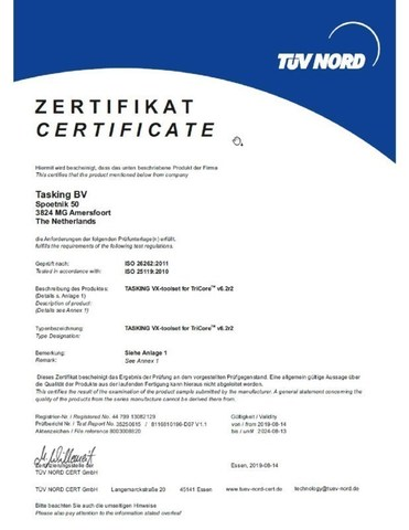TASKING VX-toolset for TriCore/AURIX successfully certified by TÜV Nord