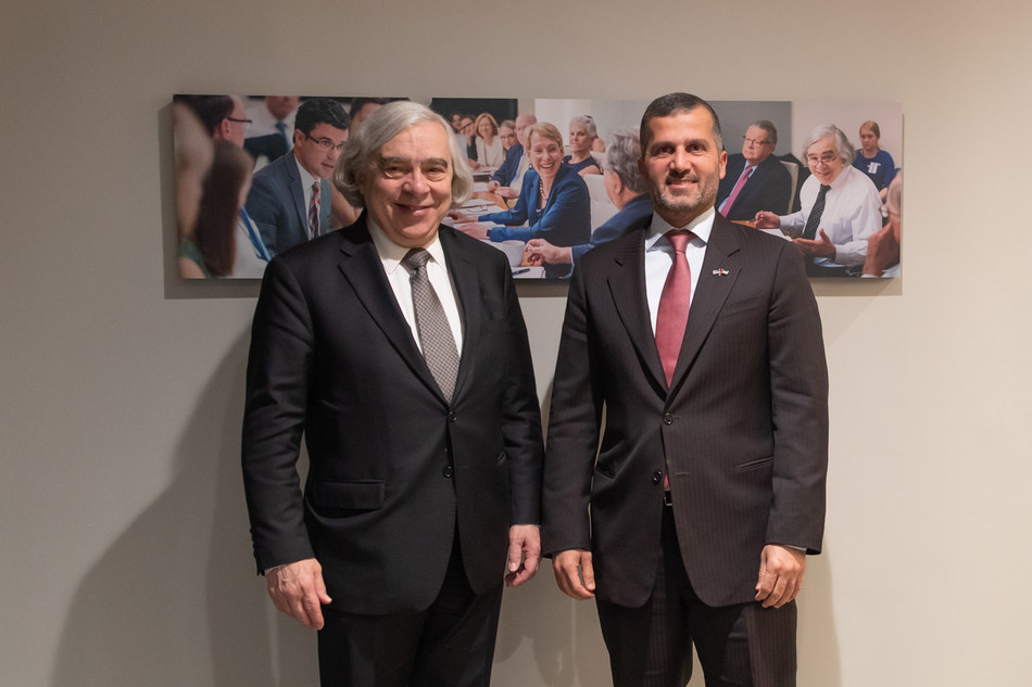 ENEC CEO Mohamed Al Hammadi and former secretary of energy Ernest Moniz during a meeting at the Nuclear Threat Initiative (NTI) in Washington, D.C.