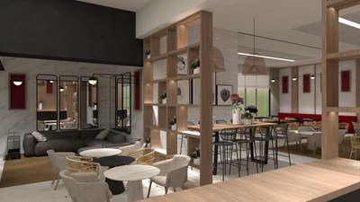 A rendering of a lounge planned for Ramada by Wyndham's first hotel in Spain.