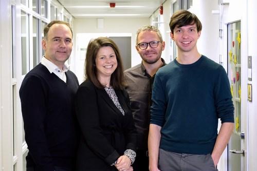 From left: Jonas Jendi, Industrifonden, Tove Larsson, Norrsken Foundation, Karl Bergman and Francesco Gatto (PRNewsfoto/Let 'em know AB)