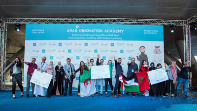 Top three winners at the Arab Innovation Academy 2020