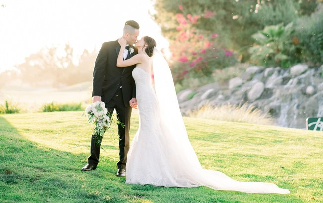 Couples can enjoy dramatic scenery including lush green views, manicured landscaping, and a multi-tier waterfall that makes gorgeous surroundings in photos.