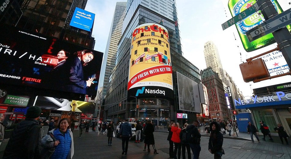 Video of Chacha issuing this year's Chinese New Year greetings on the NASDAQ screen in New York