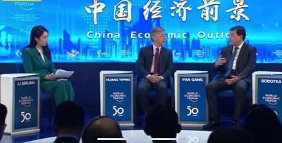 Pan Gang, presidente da Inner Mongolia Yili Industrial Group Co. Ltd., da China, durante a reunião anual do Fórum Econômico Mundial (FEM), realizada em Davos, na Suíça, em 21 de janeiro de 2020. (PRNewsfoto/Xinhua Silk Road Information)