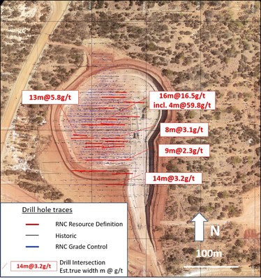 Figure 4: Fairplay North Stage 1 plan view showing 2019 RNC drilling (CNW Group/RNC Minerals)