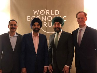 From left: Ajay Bhalla, President Cyber and Intelligence Solutions, Mastercard; Ajay Banga, CEO, Mastercard; the Honourable Navdeep Bains, Minister of Innovation, Science and Industry; and Ian McKay, CEO, Invest in Canada. (CNW Group/Innovation, Science and Economic Development Canada)