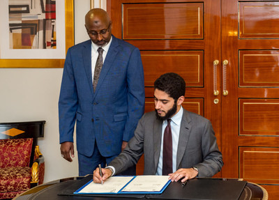 Signing of agreement between President of ERF Manssour Bin Mussallam and the Minister of National Education and Vocational Training of the Republic of Djibouti HE Moustapha Mohamed Mahamoud