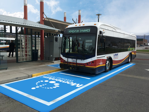 Link Transit BYD Electric Bus featuring a Momentum Dynamics Wireless Charging system