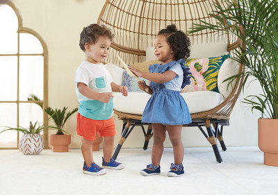 Toddlers wearing the Stride Rite Walker Sneaker and Esme Mary Jane.