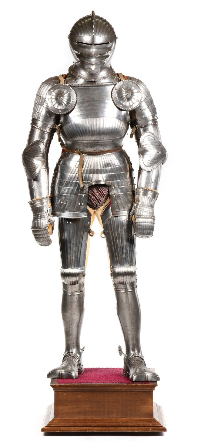 Circa 1510-1520 composite Maximilian suit of armor, assembled in the early 1920s from period pieces (some with royal provenance) by Met curator Dr. Bashford Dean, first president of the Arms & Armor Society. Sold for $270,600