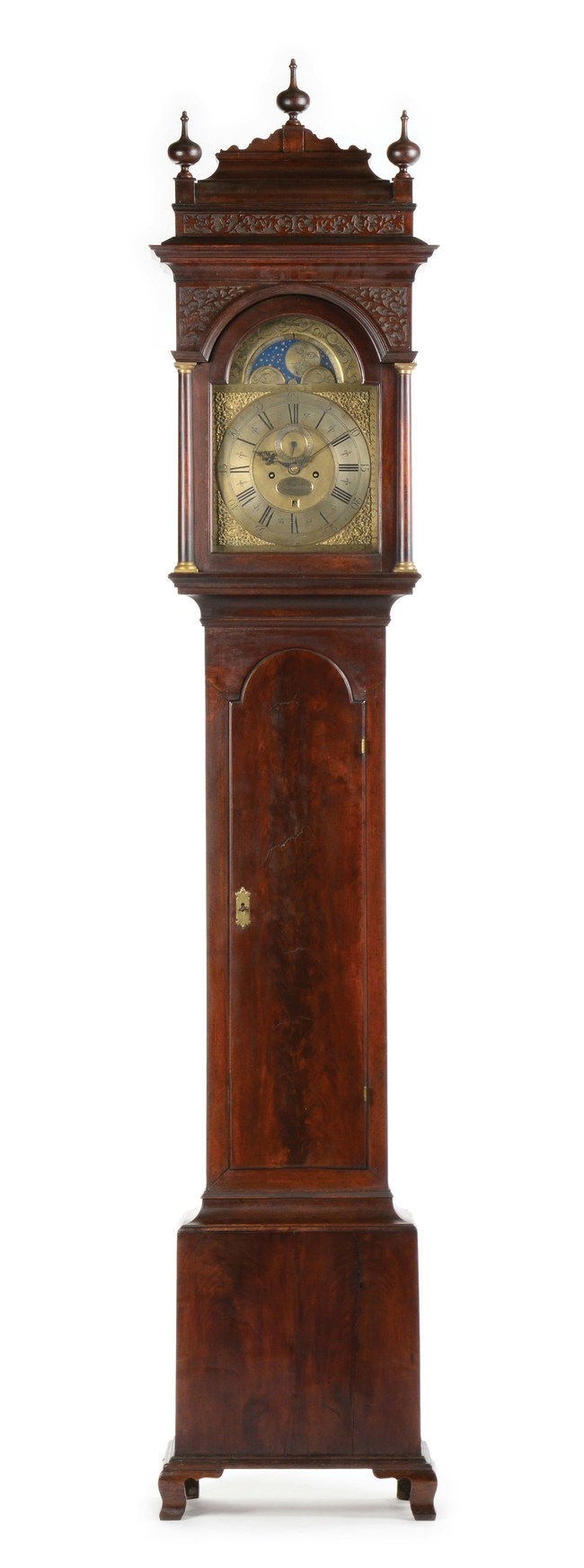 Circa-1740 Philadelphia tall-case 8-day moon-phase clock signed by Peter Stretch. Earliest known clock of its type with ogee feet. Sold for $166,050, more than twice the high estimate