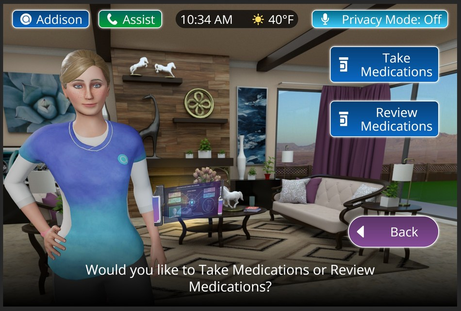 In this screenshot, Addison, the Virtual Caregiver™, walks users through the process of taking and reviewing medications.