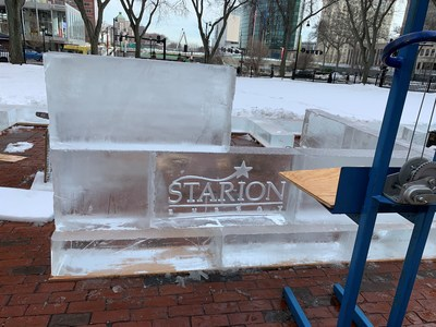 The Starion Energy logo being etched into a block of ice at Ice House CT at the premises of the Old State House in Hartford, Connecticut. Starion Energy sponsored the event which was organized by Operation Fuel, Inc.