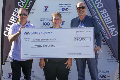 Farmers Insurance CEO Jeff Dailey donates $40,000 to the Armed Services YMCA as part of the Farmers Insurance Open on January 23, 2020.