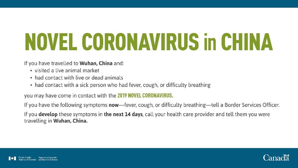 Novel Coronavirus in China (CNW Group/Canada Border Services Agency)