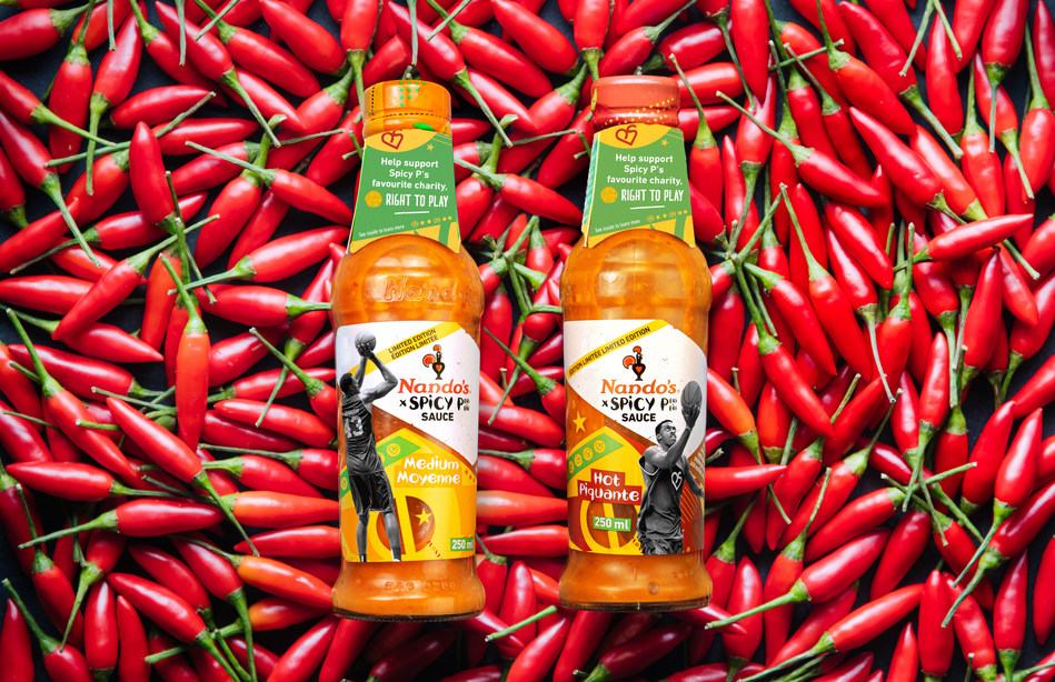 """Combining humble heat and hustle – Pascal """"Spicy P"""" Siakam and Nando's PERi-PERi launch a limited edition bottle of Spicy P(ERi-PERi) available to fans starting today. (CNW Group/Nando's Canada)"""