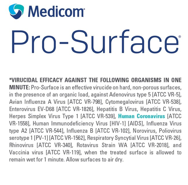 Medicom ProSurface Disinfectant Kills Wuhan Coronavirus (CNW Group/AMD Medicom Inc.)