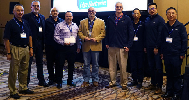 Michael Pollina, Mitch Auerbach, and Rob Tomasino of Edge Electronics accept the 2019 Tianma America Distributor of the Year Award at the 2020 Rep Meeting.