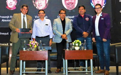 L to R: Mr. Manish Dayya from Novotel Hotels, Chef Chalapathi Rao from Simply South by Chef Chalapathi Rao, Mr. Viren Shah from Cream Stone, Mr. Prosenjit Roy Choudhury from Absolute Barbecues, Mr. Ankit Mehrotra from Dineout (CEO & Co-founder)