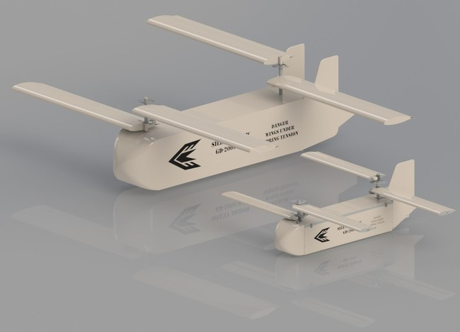 Yates Electrospace Corporation's new Silent Arrow wide-body shown next to the company's standard GD-2000 autonomous cargo delivery aircraft.