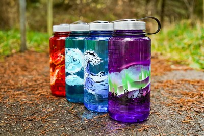 Nalgene Outdoor, maker of reusable water bottles, reaffirms its commitment to simplicity and durability with the introduction of its new Elements Collection, four 32-ounce, wide-mouth bottles featuring artistic interpretations of life's fundamental elements — earth, wind, fire and water.  Earth – Inspired by the place we call home, trees meet the illuminated sky on this warm purple bottle.