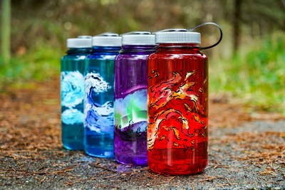 Nalgene Outdoor, maker of reusable water bottles, reaffirms its commitment to simplicity and durability with the introduction of its new Elements Collection, four 32-ounce, wide-mouth bottles featuring artistic interpretations of life's fundamental elements — earth, wind, fire and water.  Fire – Aglow with orange and yellow embers, this red bottle represents the energy that warms us and ignites our passions