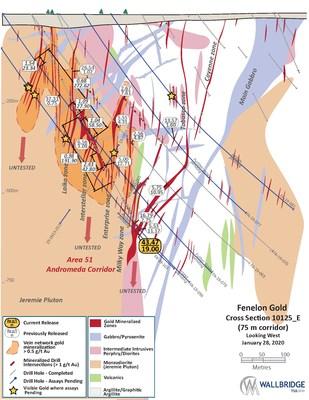 Figure 3:  Fenelon Gold, Cross Section 10125_E (CNW Group/Wallbridge Mining Company Limited)
