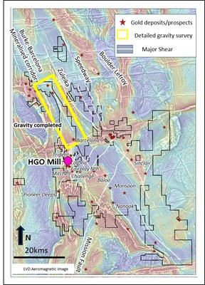 Figure 1: Higginsville aeromagnetic plan highlighting major shear zones and location of the recently completed high density gravity survey (CNW Group/RNC Minerals)