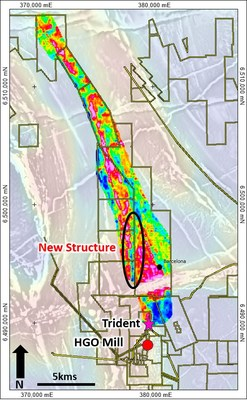 Figure 2: High density gravity image over the Burke-Barcelona mineralised corridor highlighting newly interpreted north-south structure west of the Barcelona prospect. (CNW Group/RNC Minerals)