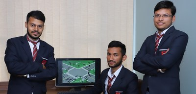 Electronic and Communication Engineering students of Chandigarh University with the prototype of Smart Traffic Control System