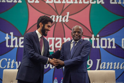 Newly-elected OEC Secretary General Manssour Bin Mussallam congratulated by Djibouti Prime Minister Abdoulkader Kamil Mohamed at the close of the III ForumBIE 2030, held in Djibouti.