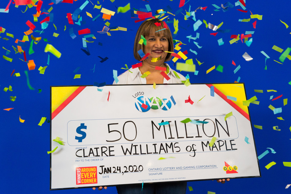 Claire Williams of Maple celebrates her $50 million win. Claire won the Friday, January 17, 2020 LOTTO MAX jackpot. (CNW Group/OLG Winners)